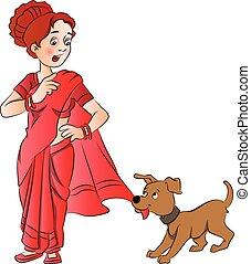 saree., ペット, 女性, 犬, ベクトル, 引く