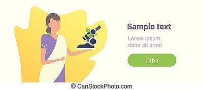 saree, 学校, 女, indian, スペース, 労働者, 衣服, 特徴, 平ら, 漫画, 伝統的である, 顕微鏡...