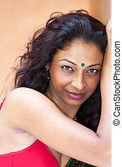 saree, femme souriante, indien