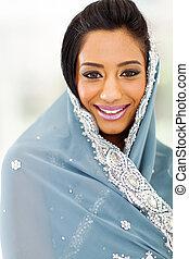saree, kvinna, indisk, nätt
