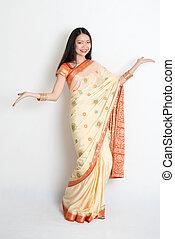 sari, acogedor, niña india joven, vestido