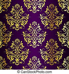 sari, gold, lila, muster, seamless, kompliziert