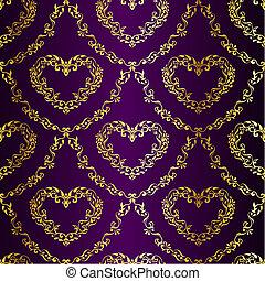 sari, guld, purpur, mönster, seamless, hjärtan