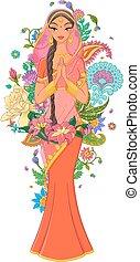 sari, indien, entouré, isolé, illustration, arrière-plan., vecteur, ornaments., girl, fleurs, blanc