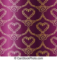 sari, or, pourpre, modèle, seamless, cœurs