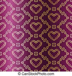 sari, oro, púrpura, patrón, seamless, corazones