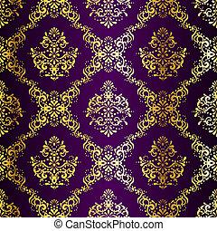 sari, oro, púrpura, patrón, seamless, intrincado
