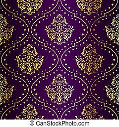 sari, oro, viola, modello, seamless, intricato