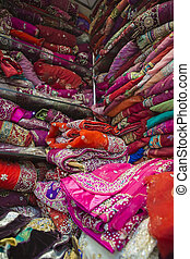 Sari Shop. Indian Traditional Women's Sari clothing on Market. Buying Wedding Sari