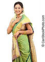 sari, sourire, soie, femme