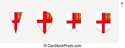 Sark flag in vertical design, vector illustration.
