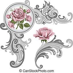 sarok, darab, díszítés, agancsrózsák