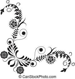 sarok, vektor, virág, tervezés, elem