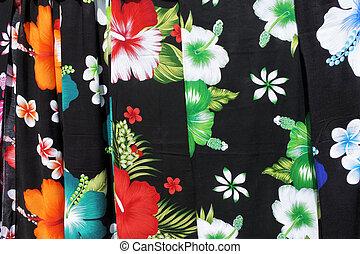 sarong, tropical, cocinero, exhibición, rarotonga, islas, ...