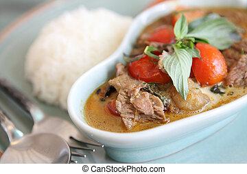 sarriette,  curry, boeuf