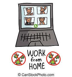 Sars cov 2 crisis work from home banner poster. Connect virtually video confrencing cute bunny covid infographic for kids. Social media support clipart. Responsibly working cartoon concept vector.