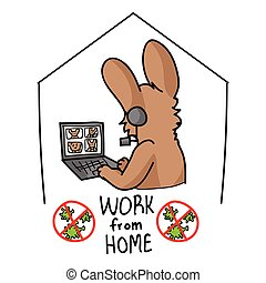 Sars cov 2 crisis work from home banner poster. Cute bunny on video confrencing call covid 19 infographic for kids. Social media support clipart. Responsibly working cartoon concept vector.