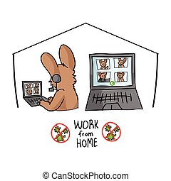 Sars cov 2 crisis work from home confrencing call poster. Cute bunny on video covid 19 infographic for kids. Social media support clipart. Responsibly working cartoon concept vector.