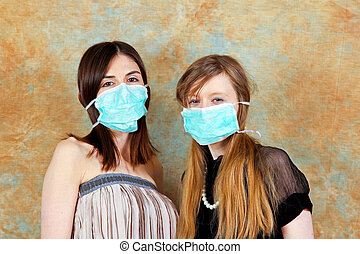 Sars mask - Two young women with protective medical masks
