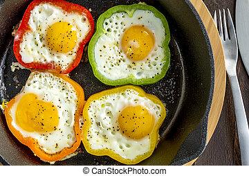 sartén, molde, huevos, frito, hierro