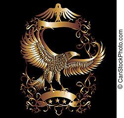 sas, vektor, művészet, pajzs, arany