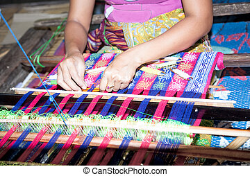 Sasak tribe lady weaving, Lombok - Sasak tribe lady weaving...