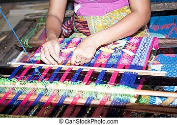 sasak, tribo, senhora, tecendo, lombok