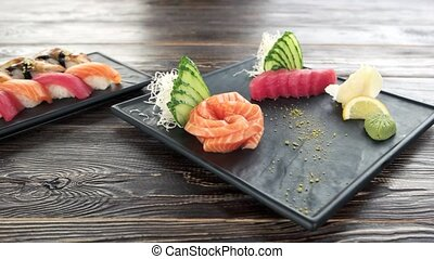 Sashimi and nigiri. Delicious japanese food.