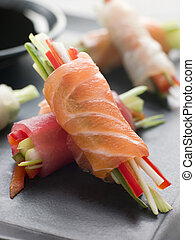 Sashimi and Vegetable Rolls with Soy Sauce