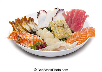 sashimi, fatto, piatto, pietanza