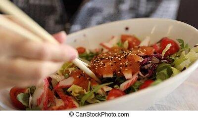 sashimi, japonaise, salade