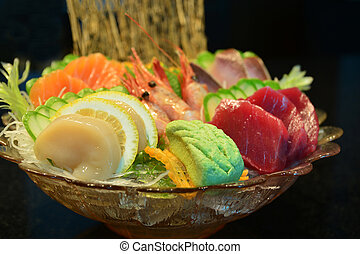 sashimi, jogo, alimento japonês