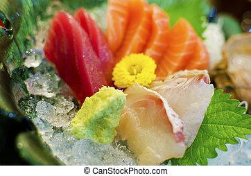 sashimi, jogo, de, salmão, atum, alimento japonês
