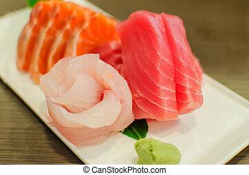 sashimi, jogo, de, salmão fresco, e, atum, peixe cru