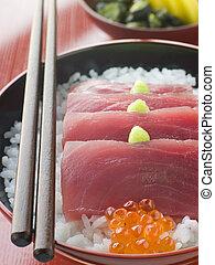 Sashimi of Yellow Fin Tuna on Rice with Salmon Roe Pickles ...