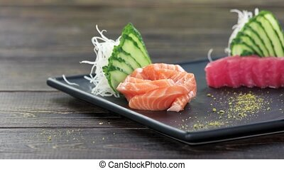 Sashimi on a plate. Traditional Japanese food.
