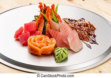 Sashimi on the silver tray