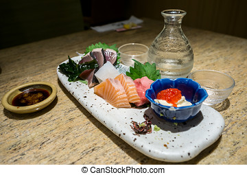 sashimi, platter, com, causa