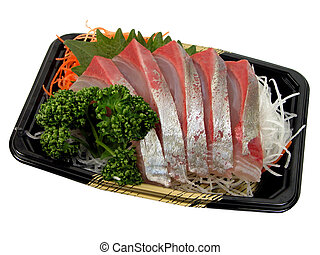 Raw fish and vegetables-sashimi, specific Japanese food-isolated over white with clipping path