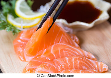 sashimi, salmão, alimento japonês