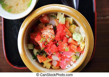sashimi seafood and egg rice bowl - mix sashimi donburi , japanese food