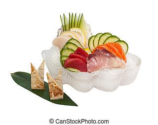 Sashimi set with raw fresh scallops, sea bass, tuna, salmon, cucumber, rice noodles