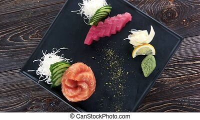 Sashimi top view. Raw fish and kataifi dough.