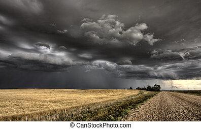 saskatchewan, nuages, orage