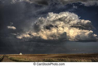 saskatchewan, nubi, tempesta