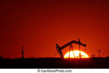 saskatchewan, pompe, huile, champ coucher soleil