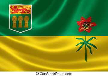 Saskatchewan Provincial Flag of Canada - 3D rendering of the...