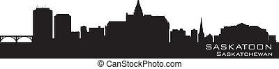 Saskatoon, Canada skyline. Detailed silhouette