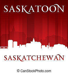 Saskatoon Saskatchewan Canada city skyline silhouette red backgr