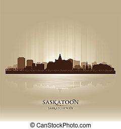 Saskatoon Saskatchewan skyline city silhouette. Vector illustration